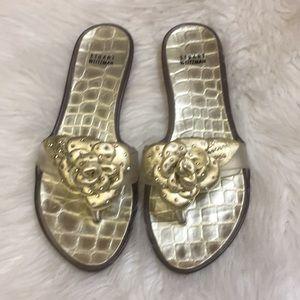 Stuart Weitzman Gold jelly sandals. Size 10
